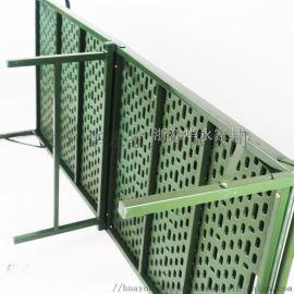 钢塑两折床军绿折叠六折床便携式折叠床