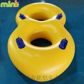 水上充气环流河双人皮筏 PVC高弹滑水圈皮筏