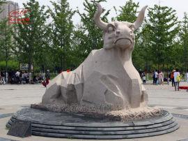石雕犀牛,石头雕刻犀牛群,动物园林动物牛落地摆件