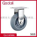 弧面重型不锈钢灰色人造胶脚轮