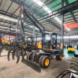 新疆地区抓棉花轮式抓木机 8吨胶轮挖掘机