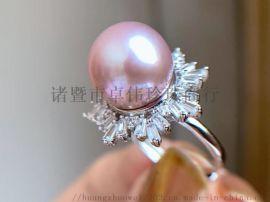 纯银珍珠戒指爱迪生12-13mm