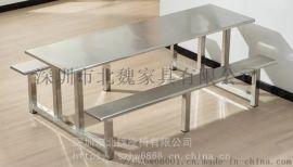 广东CZY001职工饭堂不锈钢连体餐桌椅