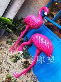 粉色玻璃钢丹顶鹤仙鹤动物造型雕塑店铺美陈
