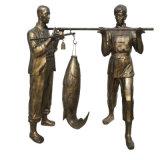 玻璃鋼漁夫人物雕塑 公園情景小品打魚人雕塑