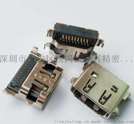HDMI 19P沉板母座反向90度双排插板高3.75