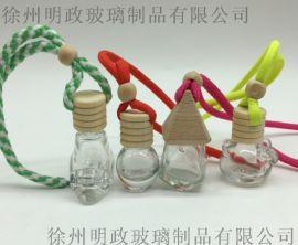 批發8ML汽車香水瓶掛件玻璃水瓶配木蓋塞子繩子珠子
