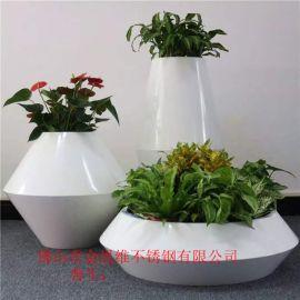 園林藝術白色不鏽鋼花箱廠家,噴砂不鏽鋼落地花器