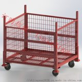 可移動倉儲籠,摺疊金屬週轉箱,可堆垛鐵框