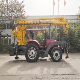10吨拖拉机吊车 电线杆吊装打孔一体机