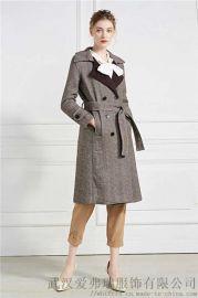做服装进货渠道三彩风衣款双面羊绒呢