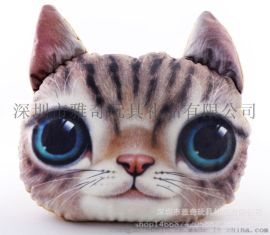 定制卡通動物貓頭抱枕 創意動漫異形抱枕