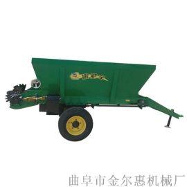 双盘有机肥撒肥车 三轮车抛洒均匀1.5方撒粪机