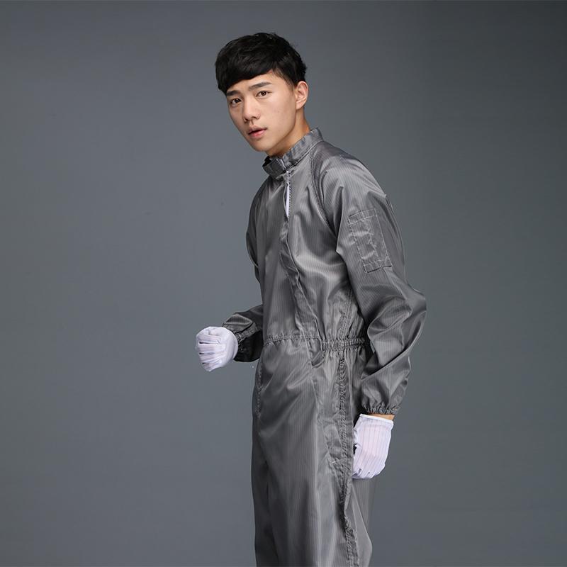 防静电连体服 灰色条纹二连体+披肩帽 厂家直销