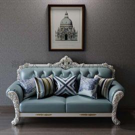 北欧复古真皮单双三人位家庭别墅客厅轻奢商务休闲实木沙发组合
