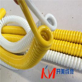 国标铜芯多芯彩色电源线PU聚醚聚酯螺旋电缆