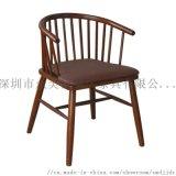 工业风实木桌椅,咖啡厅餐椅,深圳扶手椅子定制