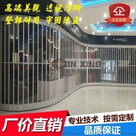 中山水晶折叠门弧形侧向推拉门商场防尘防盗门