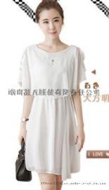 2020夏季新款时尚女装 宽松淑女气质小个子露肩雪纺A字连衣裙女