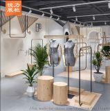 整店展示架定制 上牆服裝陳列架 木色貨架展示設計