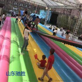 山东驰胜可移动摇摆吊床网红桥游乐设备充气彩虹气垫