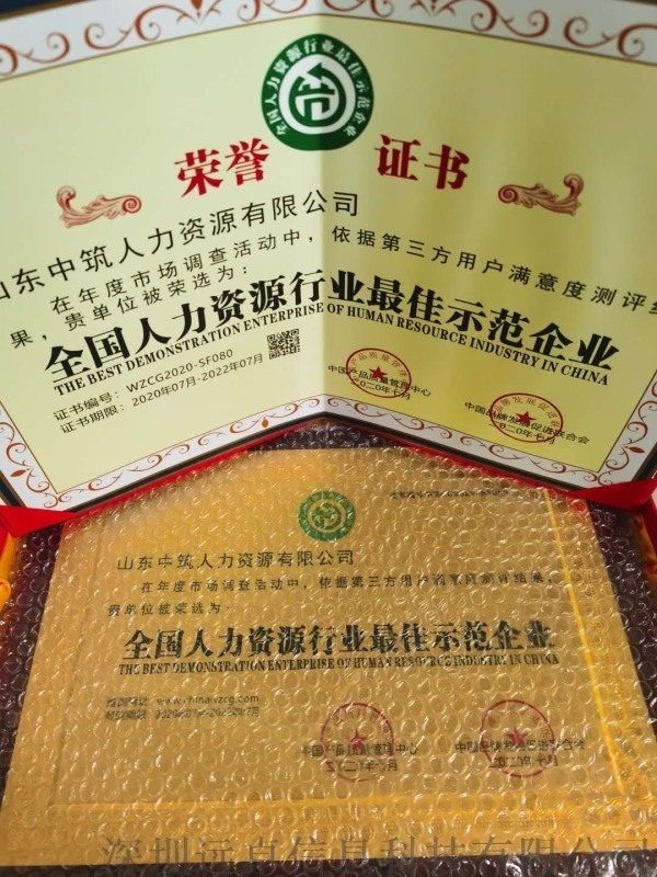 全国人力资源行业  示范企业荣誉证书