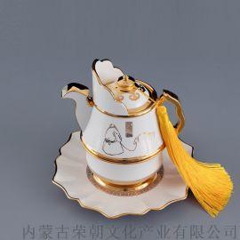 內蒙特色瓷器烏樂吉奶茶壺 草原文化特色創意