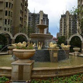 石雕欧式别墅喷泉大理石喷泉水景转运流水钵装饰摆件