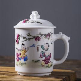 礼品定制就选景德镇陶瓷茶杯带盖会议杯子