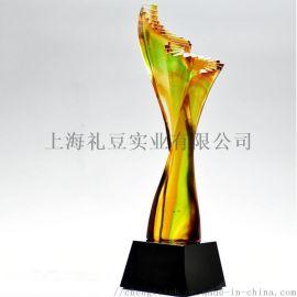 现场刻字一个起做 上海本地水晶琉璃奖杯厂