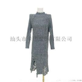 秋冬长款时尚针织毛衣连衣裙套头衫KY-347
