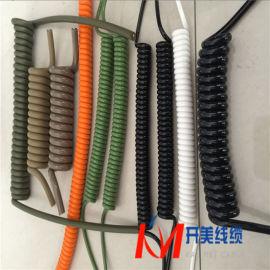 彩色电源线PU聚醚聚酯螺旋电缆防水耐磨耐高温