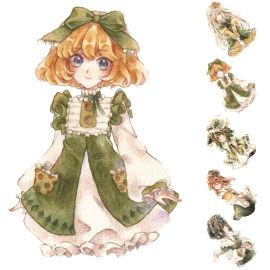 来图定制可爱小公主装扮俏皮少女绿色套装系列和纸胶带