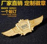 深圳翅膀徽章,電鍍金色銀色航空胸章,鋅合金紀念徽章