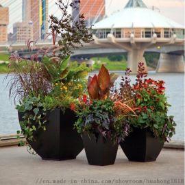 户外艺术方形花盆摆件商场玻璃钢花盆组合黑色落地花钵