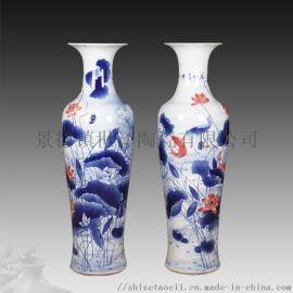 景德镇落地大花瓶厂家-陶瓷2米大花瓶定制