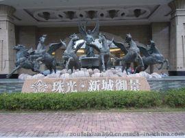 玻璃钢五星酒店大堂门口欧式神话人物天使六匹马雕塑定做厂家