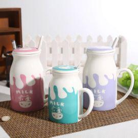 亲子牛奶陶瓷杯 400ML带盖马克杯定制logo 卡通早餐杯