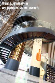 大型公共场所的双向型旋转钢结构楼梯 厂家直销