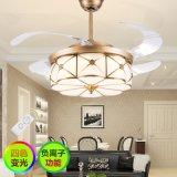 现代隐形吊扇灯欧式客厅卧室餐厅电扇灯全铜LED负离子家用风扇灯
