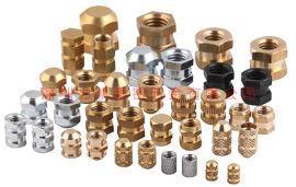 厂家供应注塑铜螺母,注塑铜嵌件,注塑铜镶嵌螺母,注塑滚花螺母