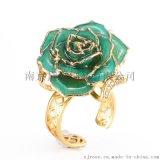 黛雅厂家直销情人节浪漫表白礼物镀金真玫瑰戒指 天然材质手工制作工艺品