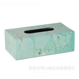 綠色鬆石長方形鋼琴烤漆木質紙巾盒歐式創意客廳臥室酒店衛浴擺件