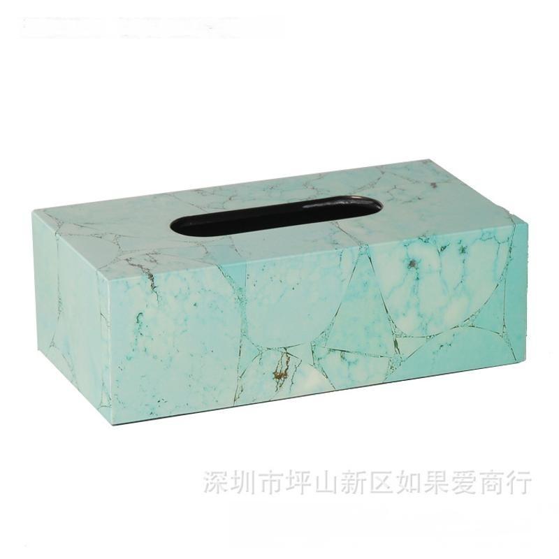 绿色松石长方形钢琴烤漆木质纸巾盒欧式创意客厅卧室酒店卫浴摆件