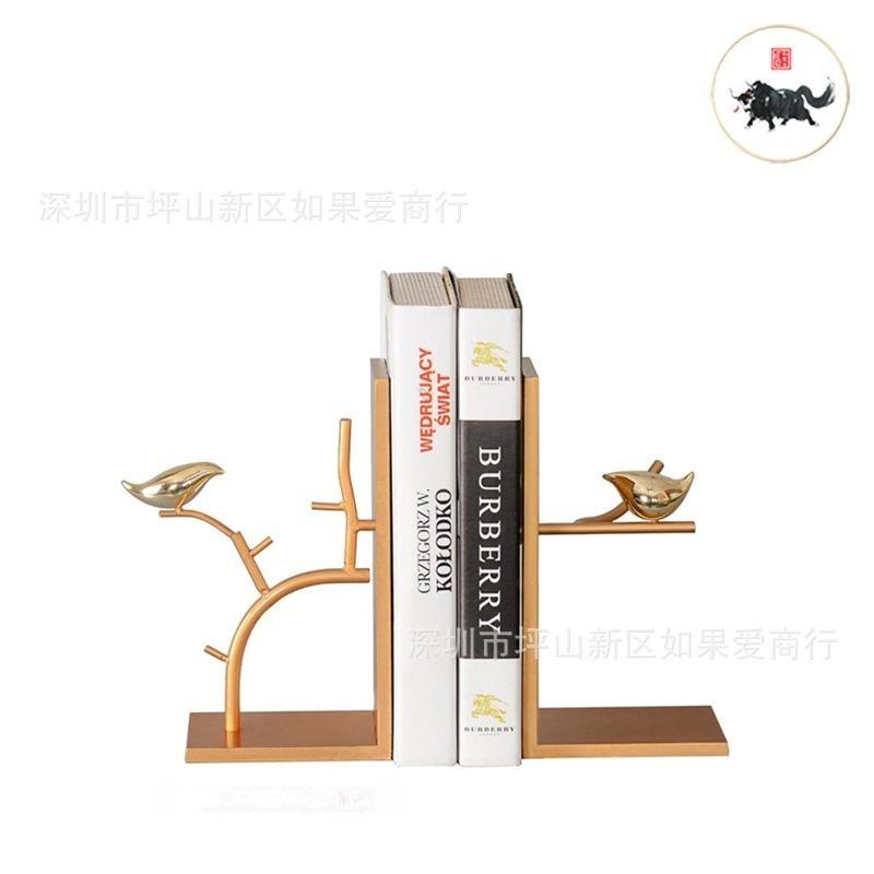 金色鸟树枝金属铁艺桌面立书档北欧复古创意装饰品书立书靠摆件