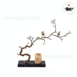 中式现代简约金属不锈钢金色小鸟和花摆件样板间别墅客厅书房摆件