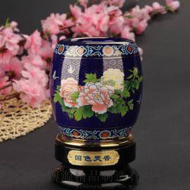 和瓷陶瓷景泰蓝国色天香旋转创意笔筒书房办公摆饰礼品