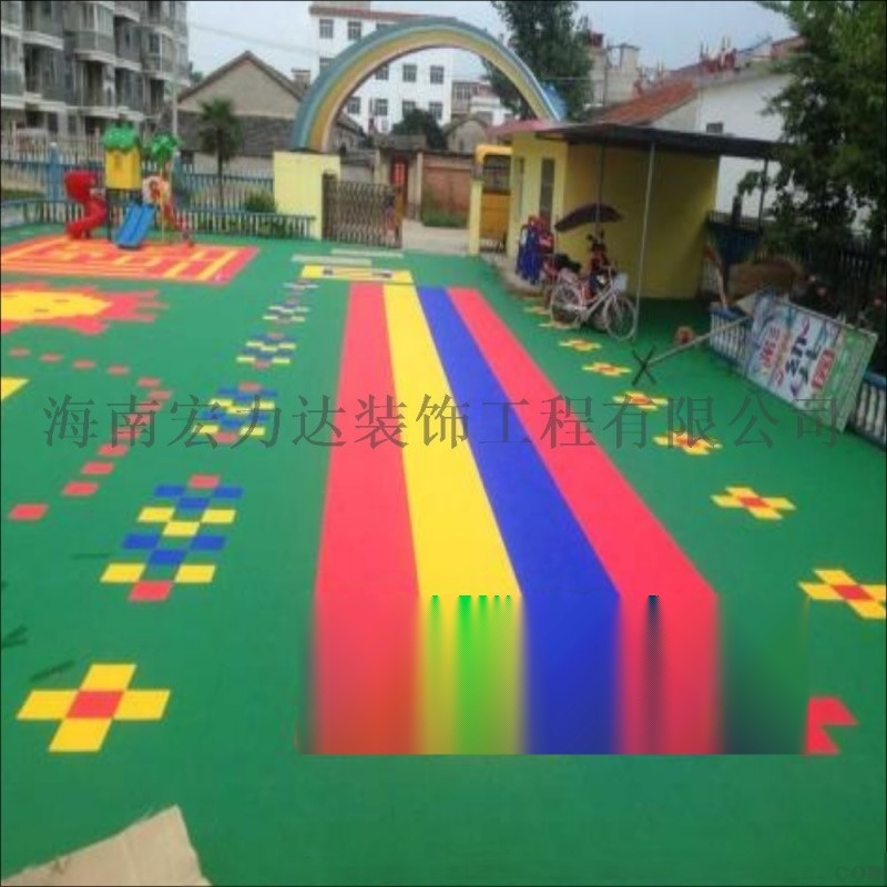 聚丙烯彩色塑料拼块地板,海南聚丙烯地板,宏利达地坪