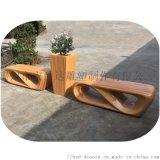 定制玻璃钢仿木纹日字休闲椅 商场广场创意景观坐椅