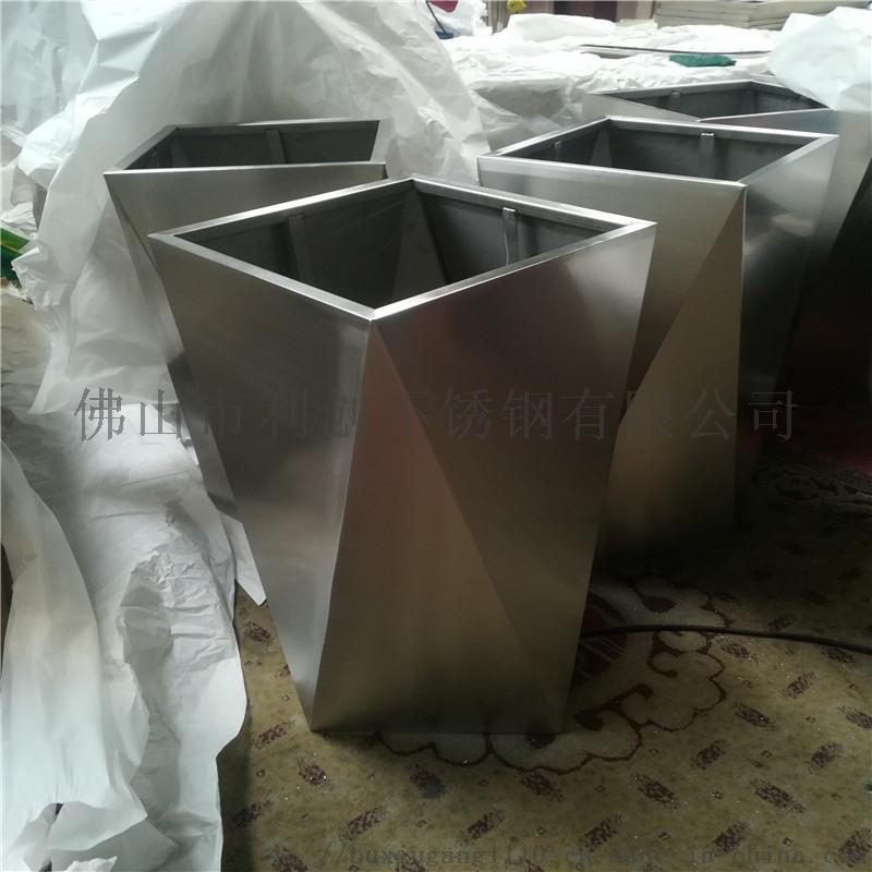 园林不锈钢花盆定制加工镜面金属花盆花箱
